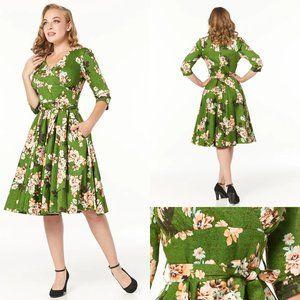 Timeless London Ximena Green Floral Dress